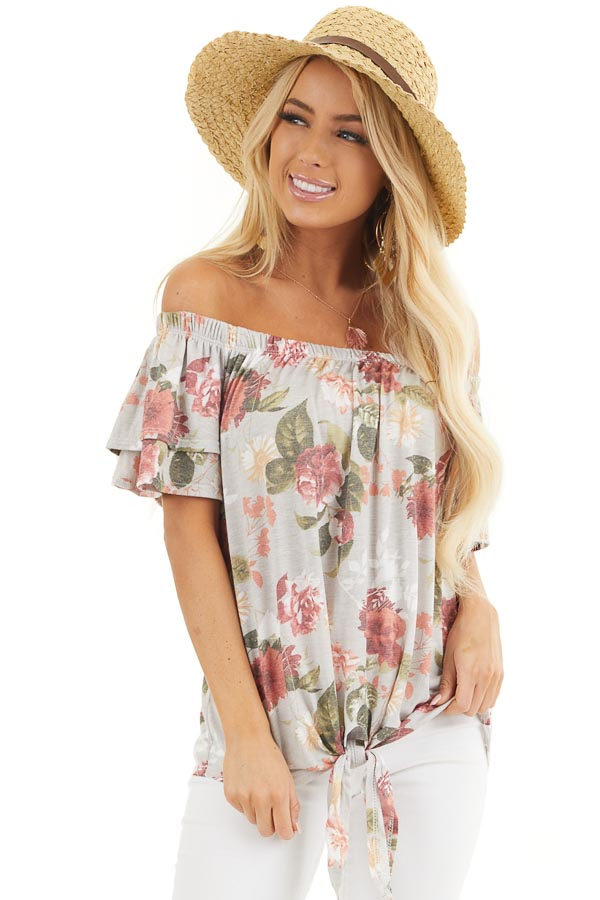 Silver Grey Floral Print Off Shoulder Top with Front Tie front close up