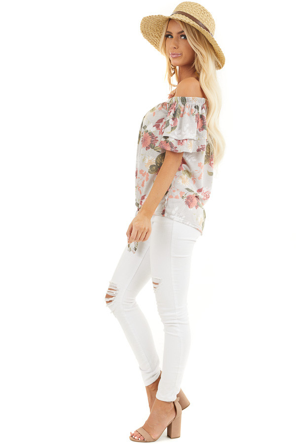 Silver Grey Floral Print Off Shoulder Top with Front Tie side full body
