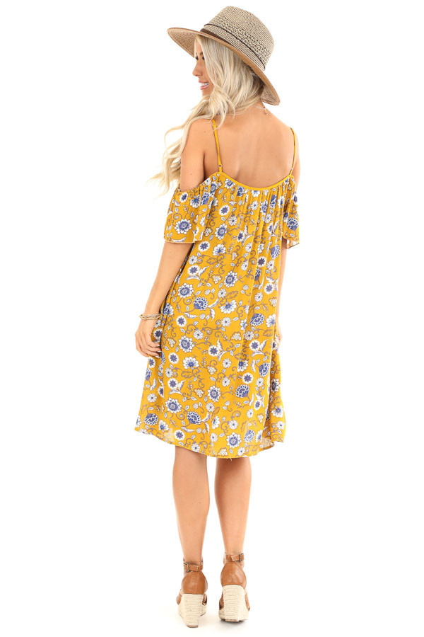 Mustard Floral Print Off Shoulder Strap Mini Dress with Tie back full body