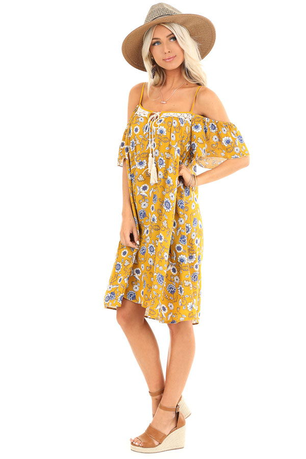 Mustard Floral Print Off Shoulder Strap Mini Dress with Tie side full body