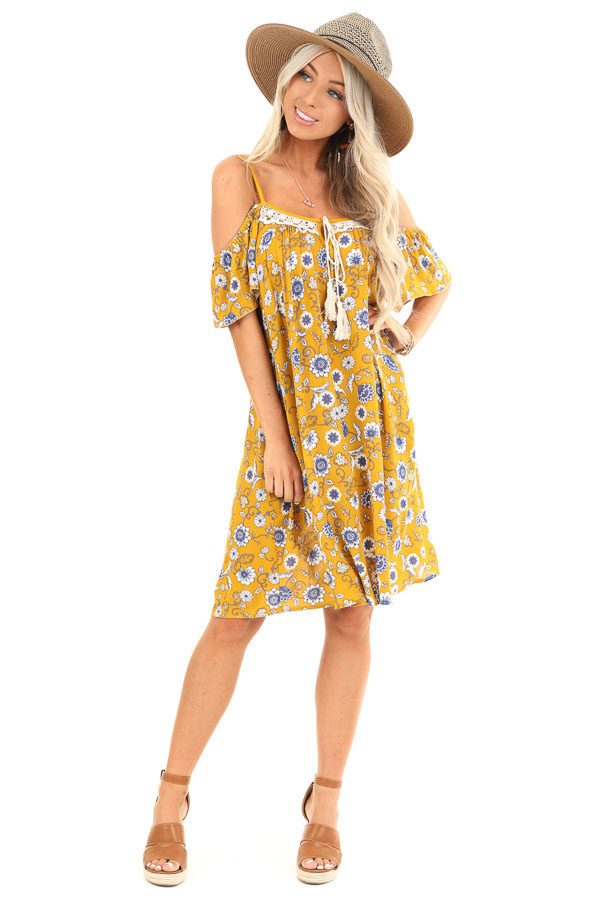 Mustard Floral Print Off Shoulder Strap Mini Dress with Tie front full body