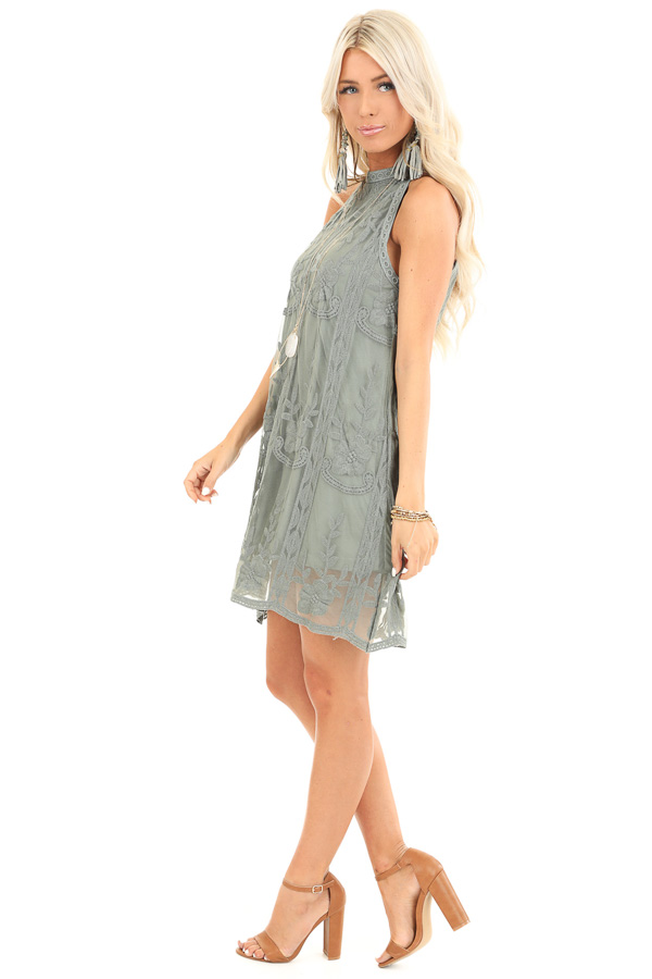 Sage Green Floral Embroidered High Neck Mini Dress side full body