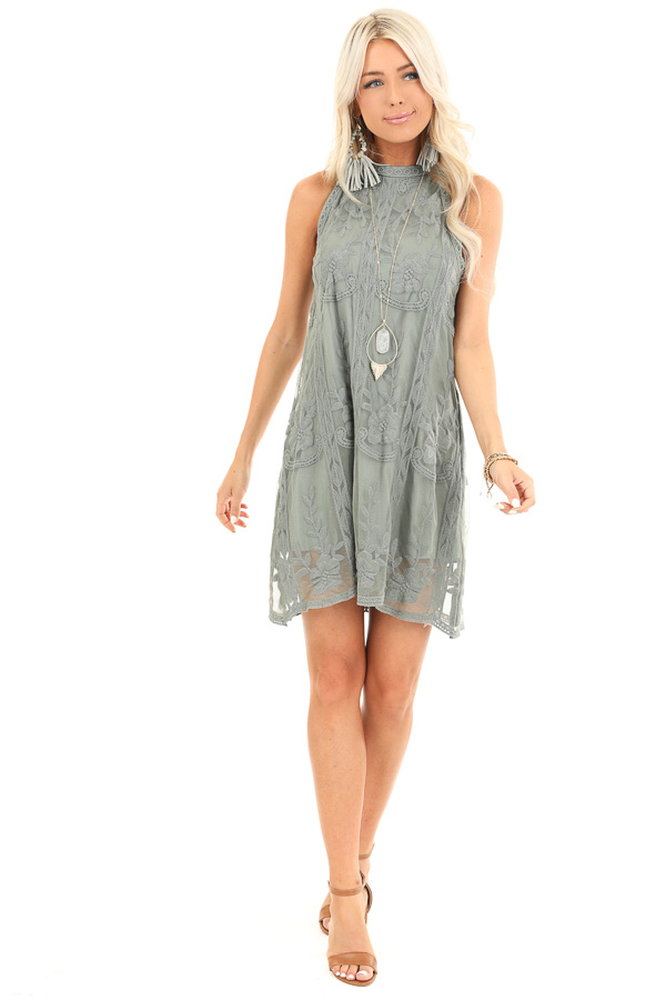 Sage Green Floral Embroidered High Neck Mini Dress front full body