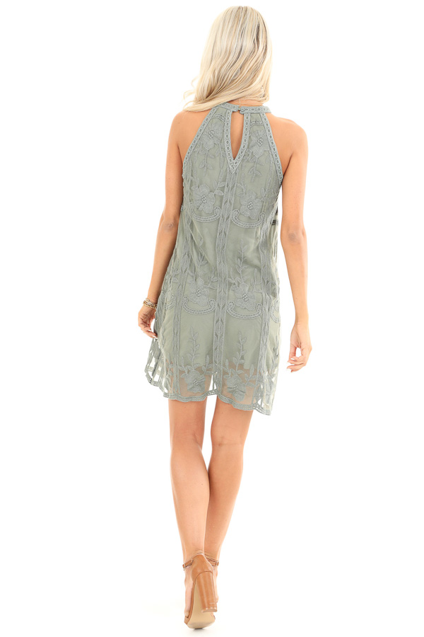 Sage Green Floral Embroidered High Neck Mini Dress back full body