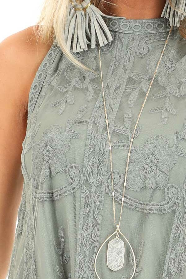 Sage Green Floral Embroidered High Neck Mini Dress detail