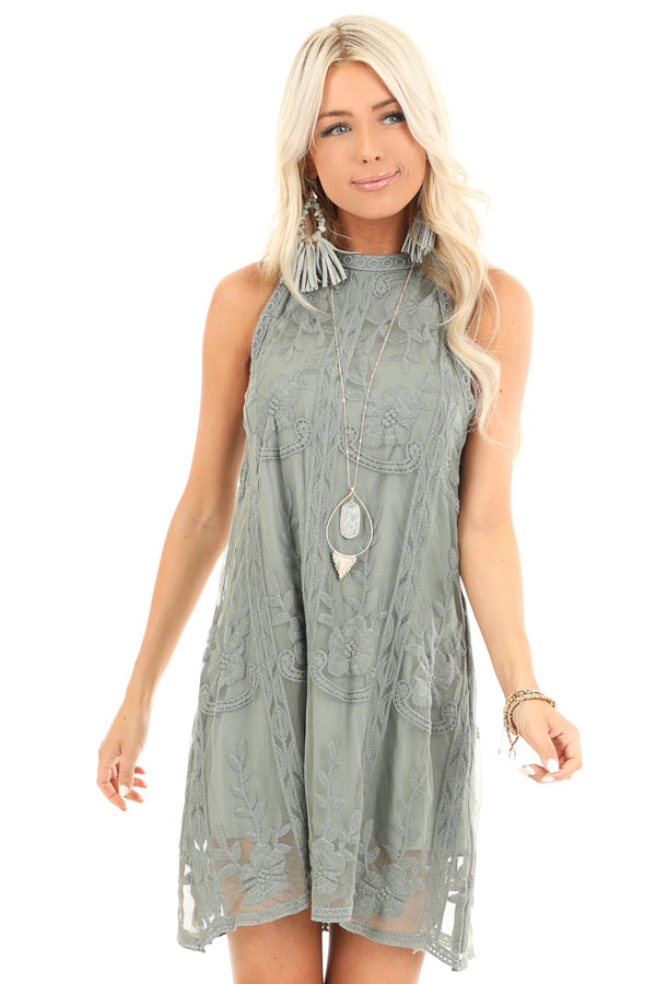 Sage Green Floral Embroidered High Neck Mini Dress front close up