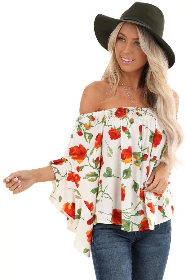 Ivory Off Shoulder Ruffle Sleeve Top with Floral Print front close up