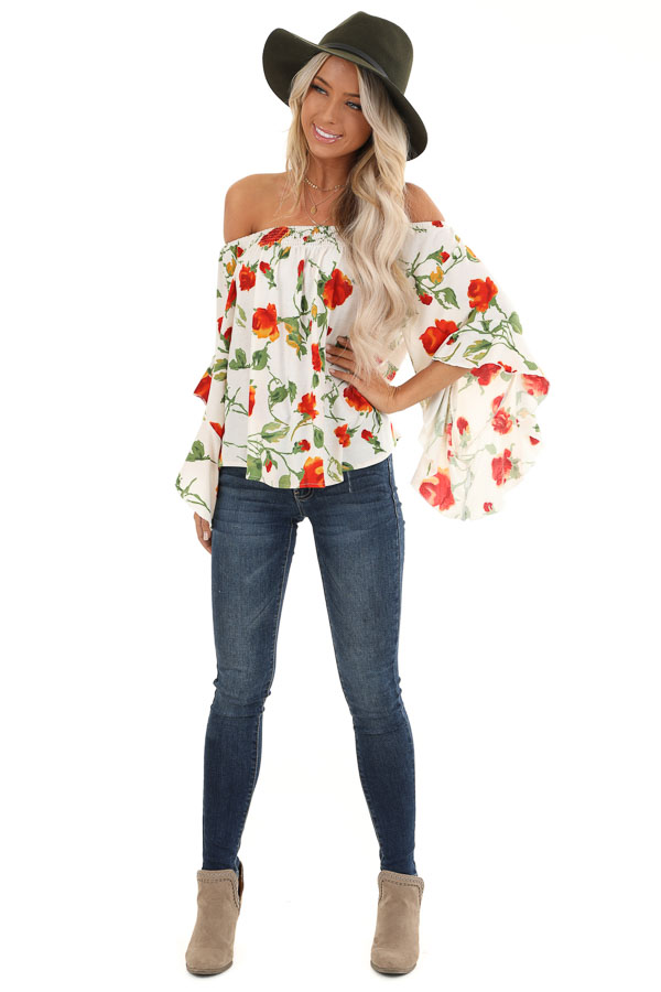 Ivory Off Shoulder Ruffle Sleeve Top with Floral Print front full body