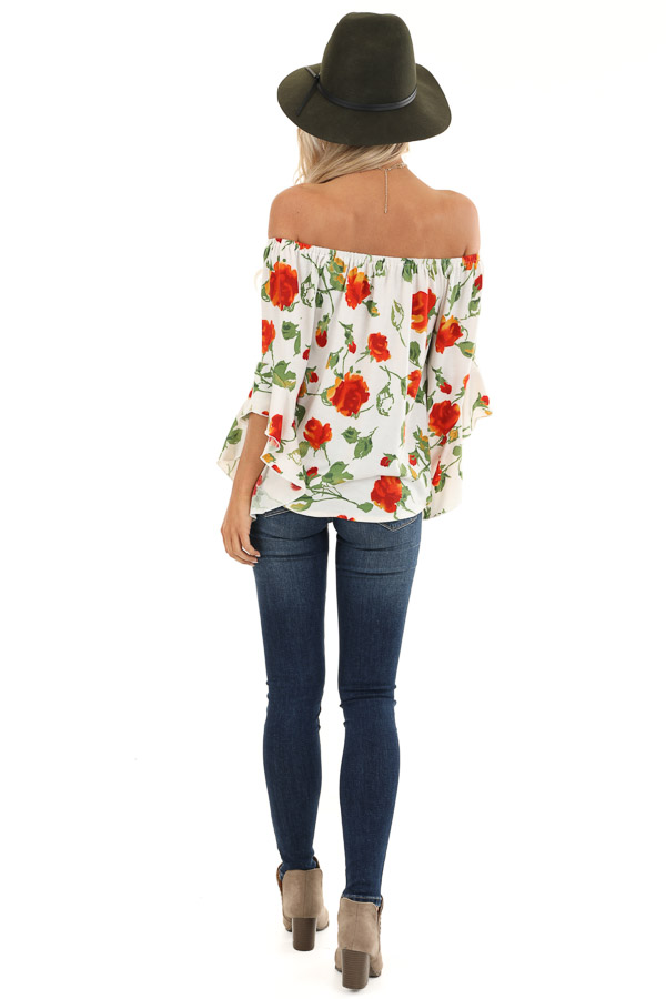 Ivory Off Shoulder Ruffle Sleeve Top with Floral Print back full body