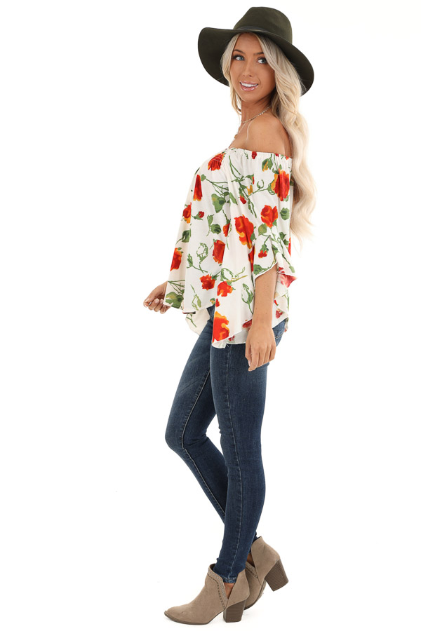 Ivory Off Shoulder Ruffle Sleeve Top with Floral Print side full body