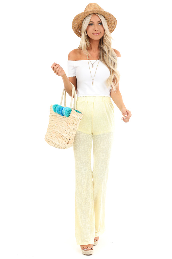 Banana Yellow Floral Stretchy Knit High Waisted Pants front full body