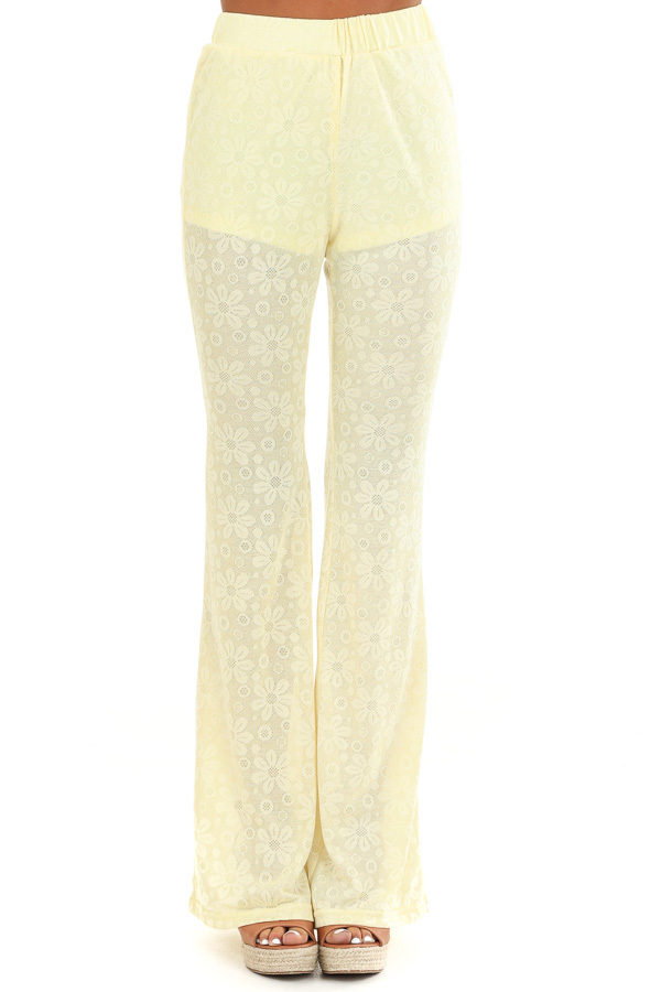 Banana Yellow Floral Stretchy Knit High Waisted Pants front view