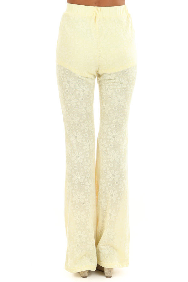 Banana Yellow Floral Stretchy Knit High Waisted Pants back view