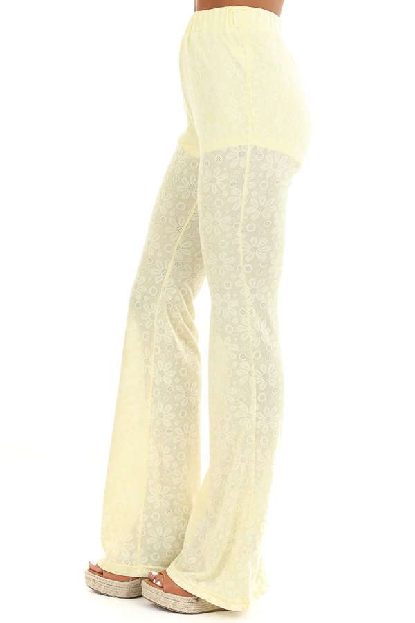 Banana Yellow Floral Stretchy Knit High Waisted Pants side view