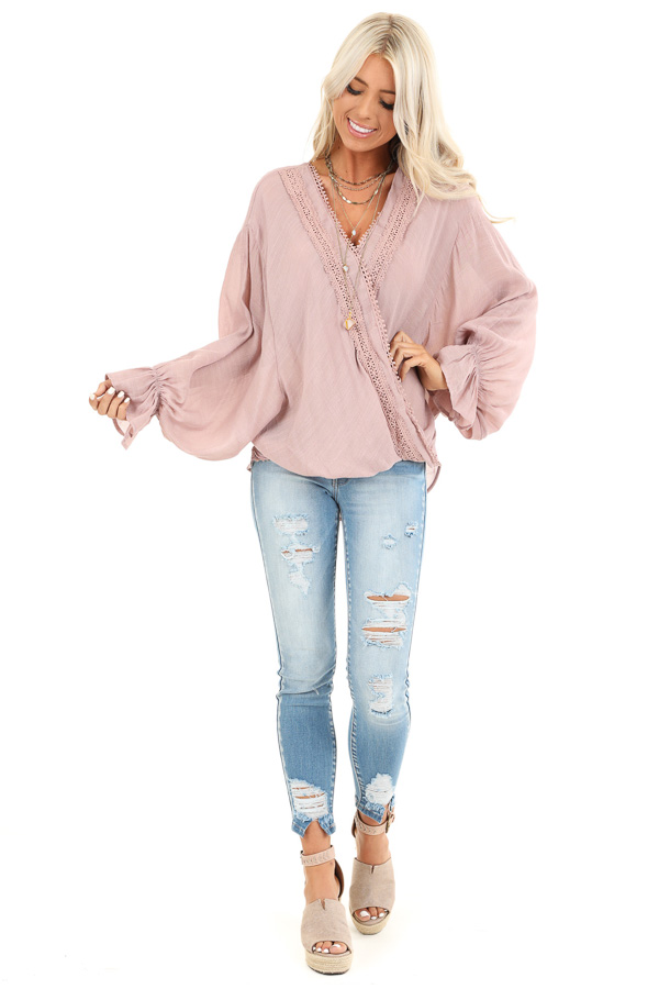 Mauve Long Sleeve Surplice Top with Lace Trim Detail front full body