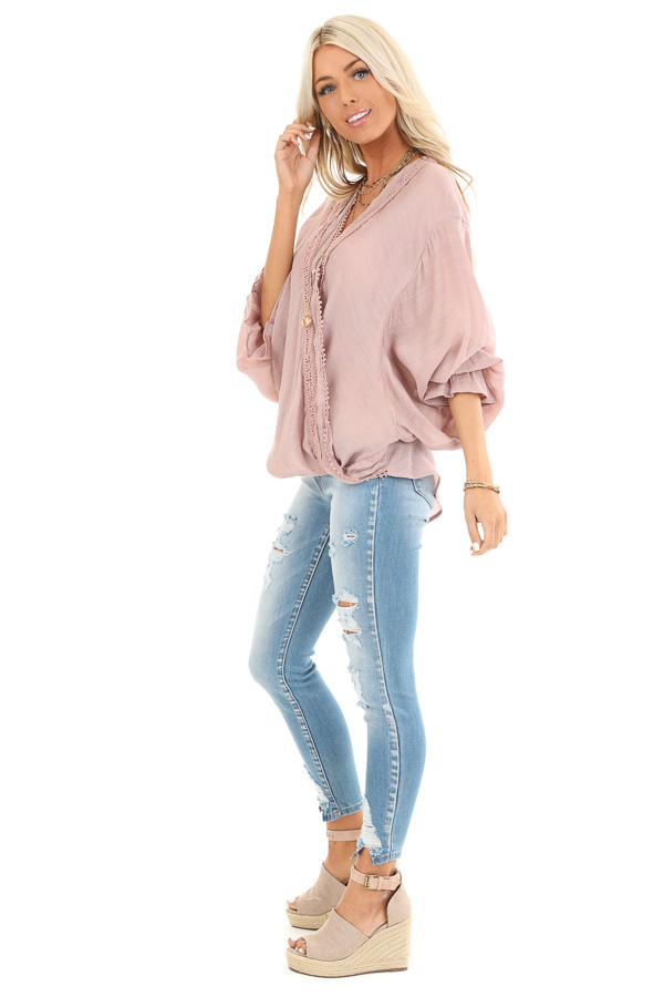 Mauve Long Sleeve Surplice Top with Lace Trim Detail side full body