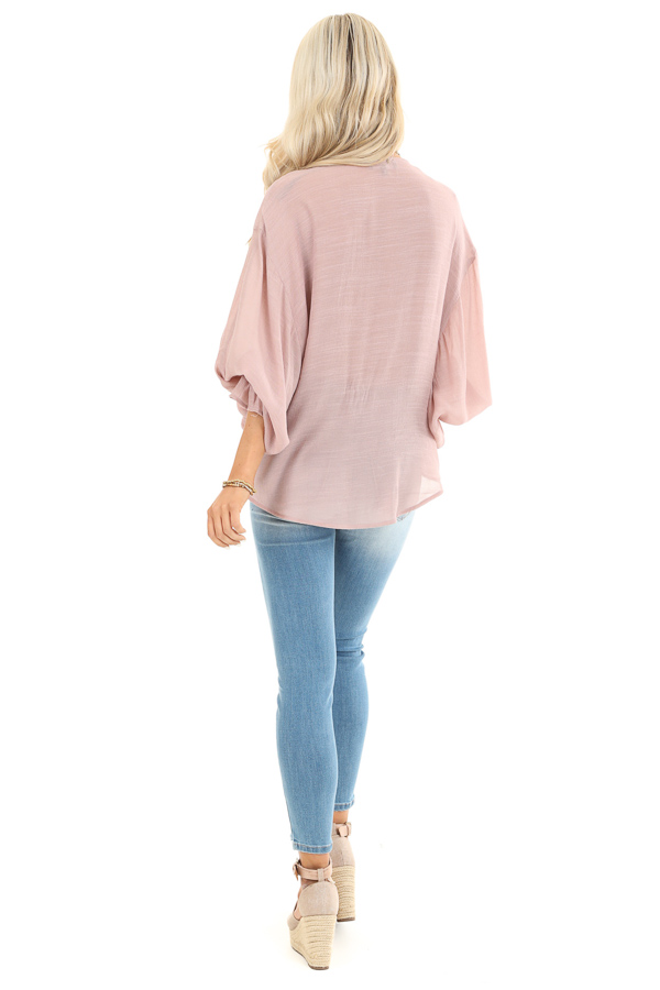 Mauve Long Sleeve Surplice Top with Lace Trim Detail back full body