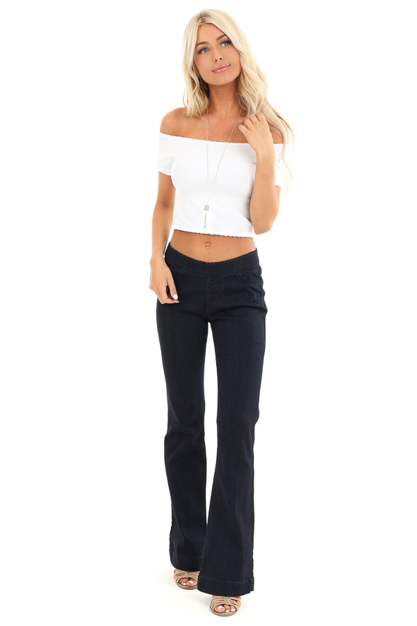 Dark Wash Mid Rise Stretchy Denim Flare Jegging Jeans front full body