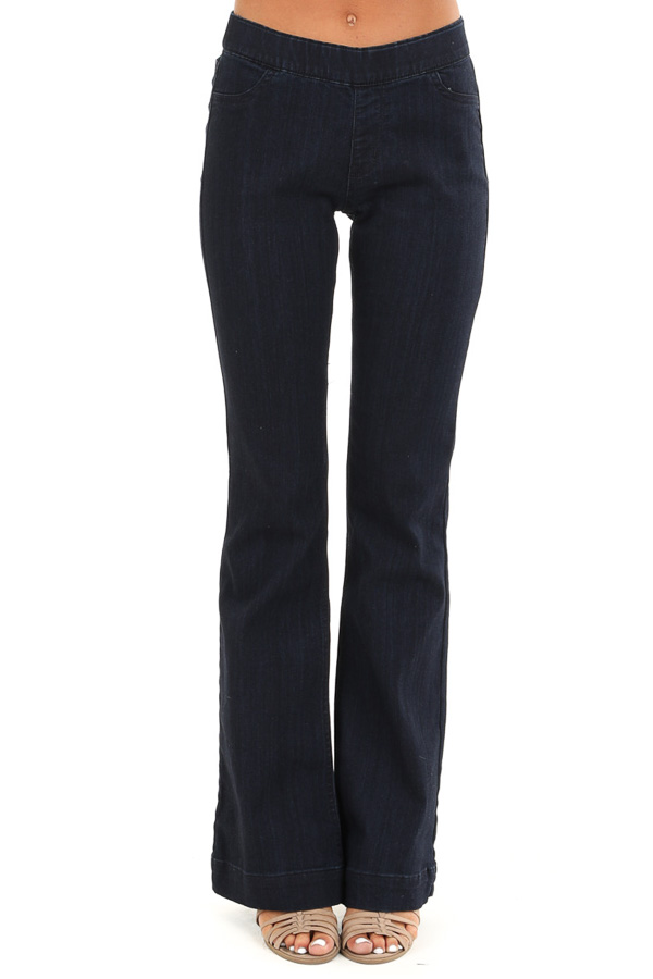 Dark Wash Mid Rise Stretchy Denim Flare Jegging Jeans front view