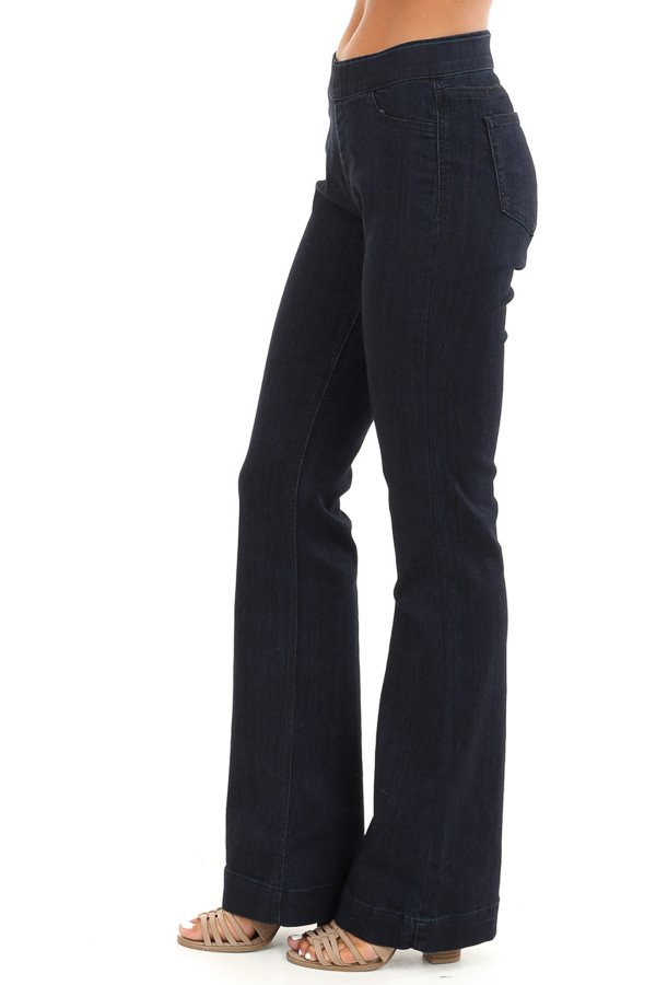 Dark Wash Mid Rise Stretchy Denim Flare Jegging Jeans side view