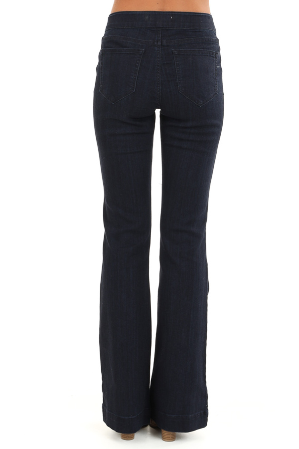 Dark Wash Mid Rise Stretchy Denim Flare Jegging Jeans back view
