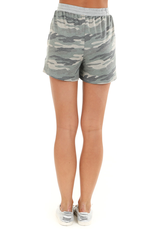 Olive Camo Print Knit Shorts with Front Tie and Pockets back view