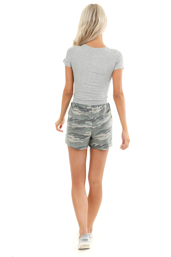 Olive Camo Print Knit Shorts with Front Tie and Pockets back full body