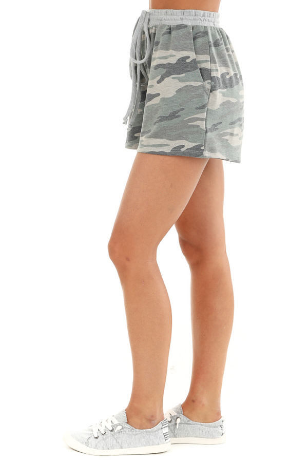 Olive Camo Print Knit Shorts with Front Tie and Pockets side view