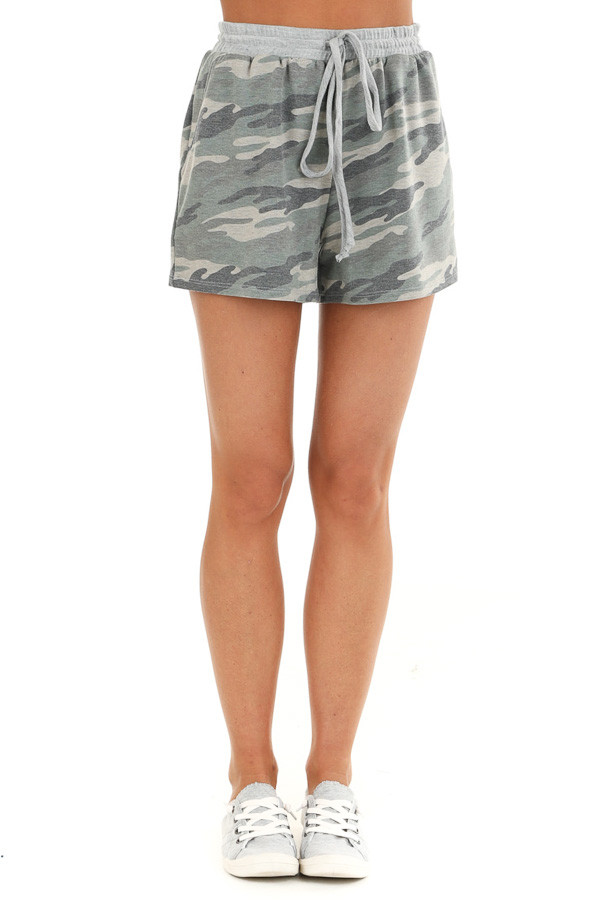 Olive Camo Print Knit Shorts with Front Tie and Pockets front view