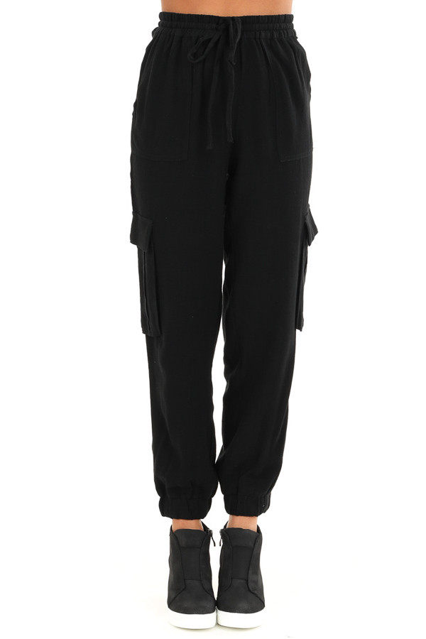 Obsidian Relaxed Cargo Pants with Drawstring and Pockets front view
