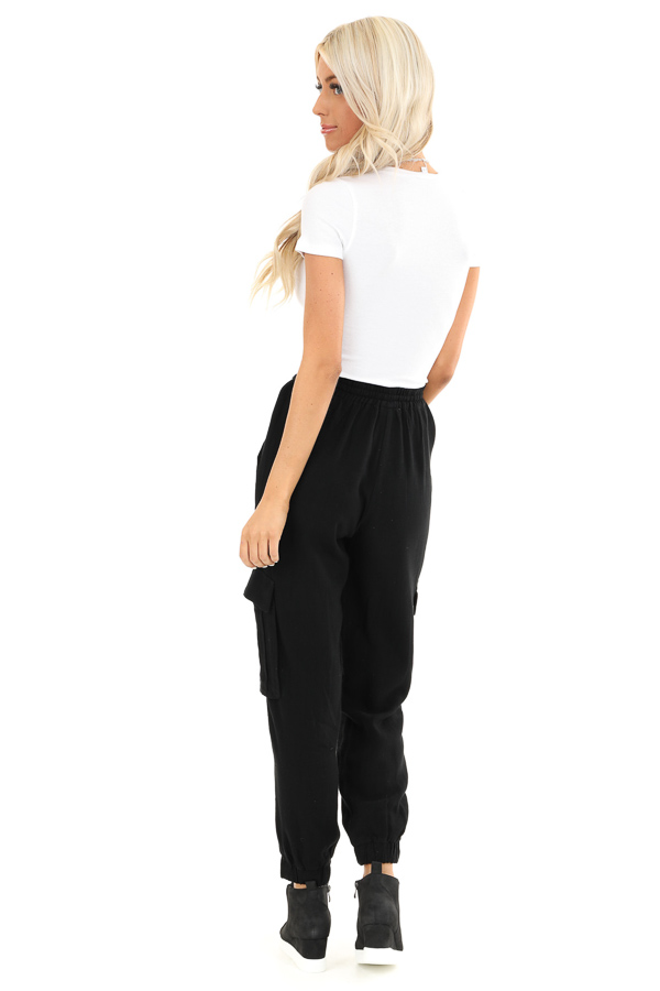 Obsidian Relaxed Cargo Pants with Drawstring and Pockets back full body