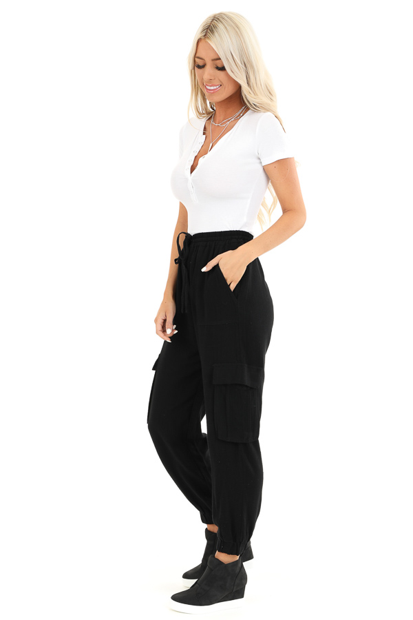 Obsidian Relaxed Cargo Pants with Drawstring and Pockets side full body