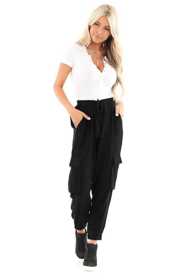 Obsidian Relaxed Cargo Pants with Drawstring and Pockets front full body