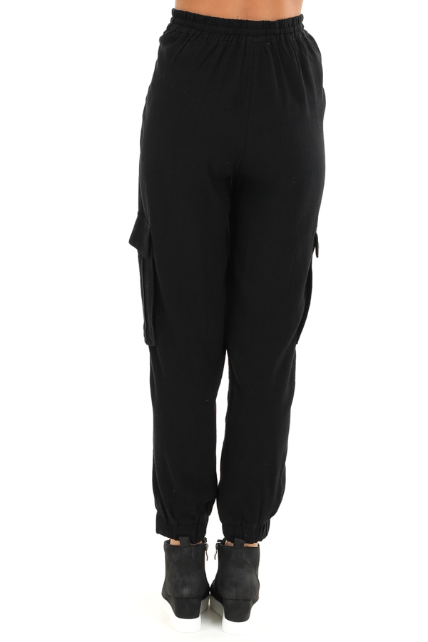 Obsidian Relaxed Cargo Pants with Drawstring and Pockets back view