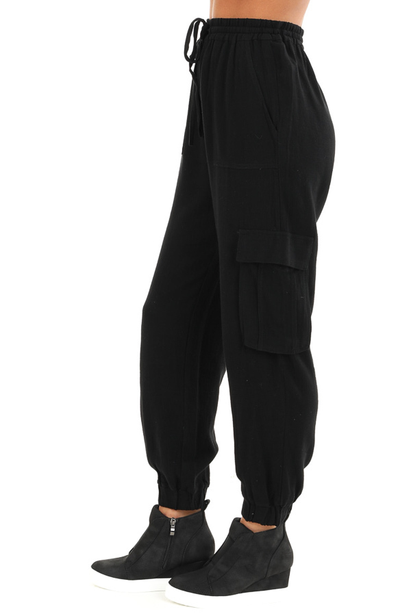 Obsidian Relaxed Cargo Pants with Drawstring and Pockets side view