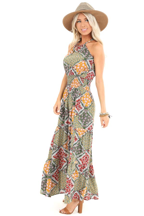 Multicolor Floral Patchwork Maxi Dress with Cut Out Detail side full body
