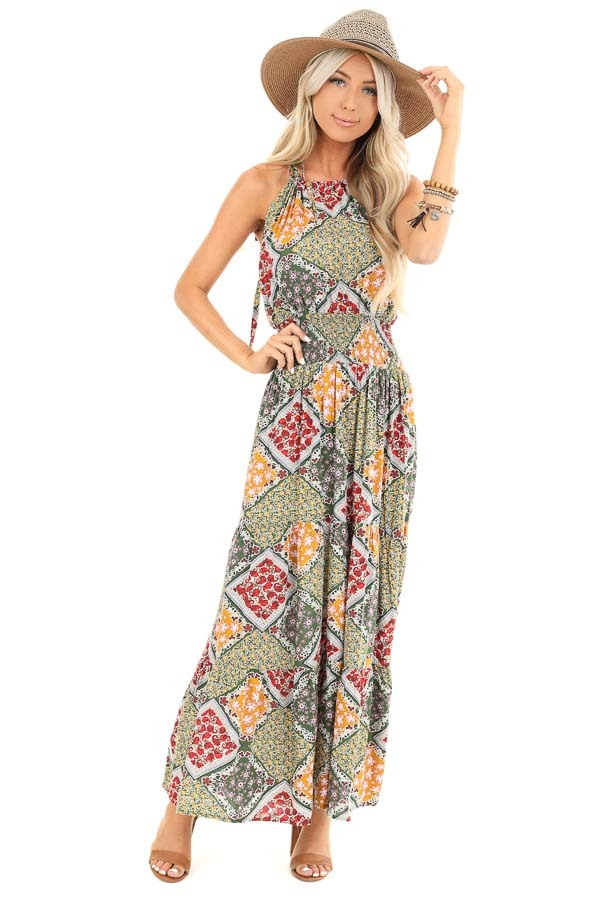 Multicolor Floral Patchwork Maxi Dress with Cut Out Detail front full body