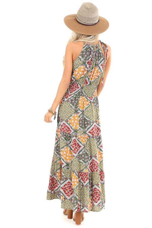 Multicolor Floral Patchwork Maxi Dress with Cut Out Detail back full body