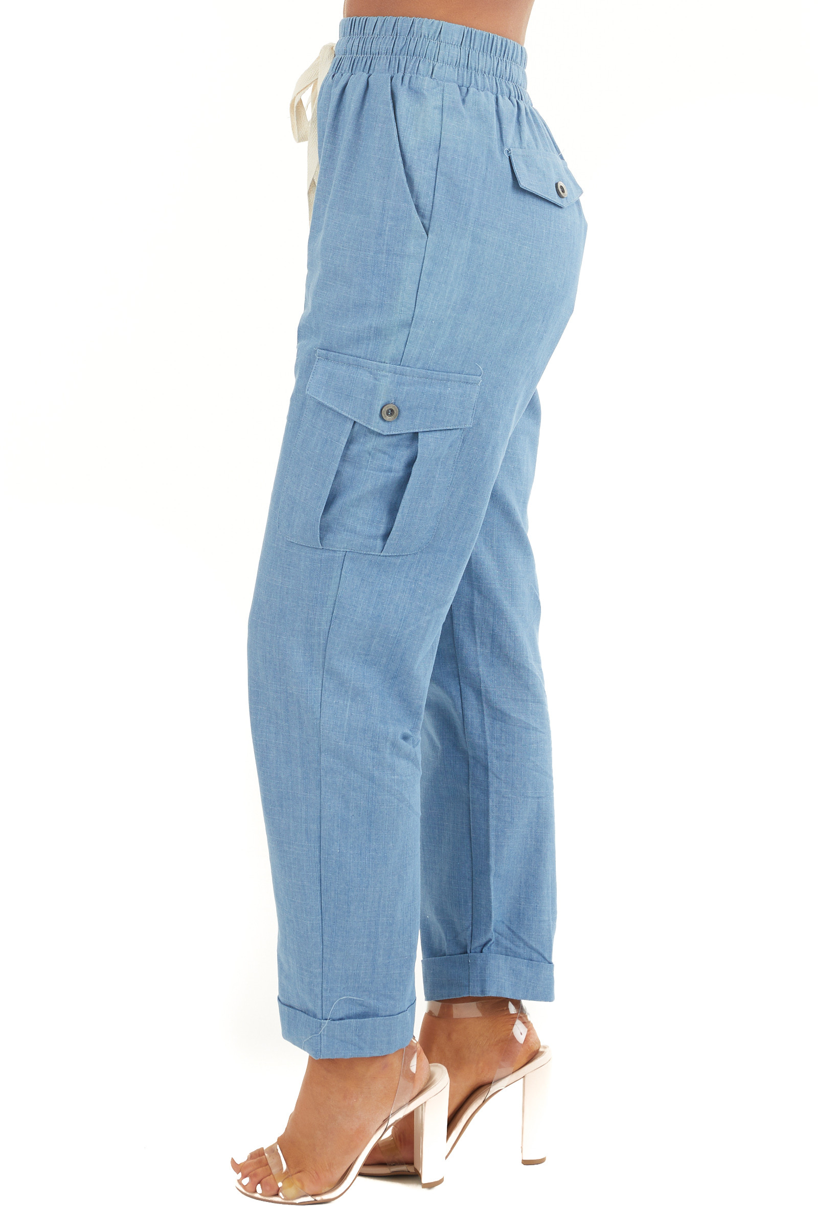 Chambray Relaxed Fit Cargo Jogger Pants with Pockets