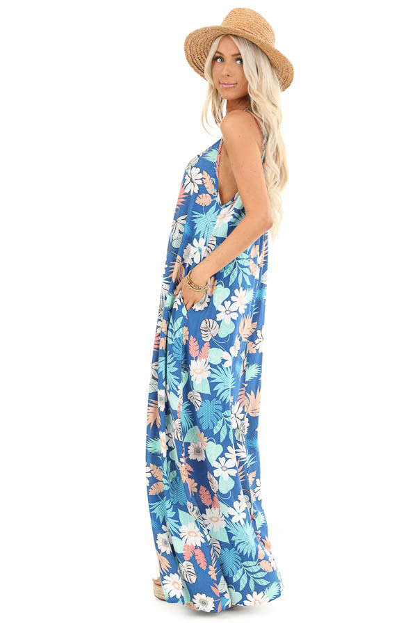 Denim Blue Multi Color Jungle Print Maxi Dress with Pockets side full body