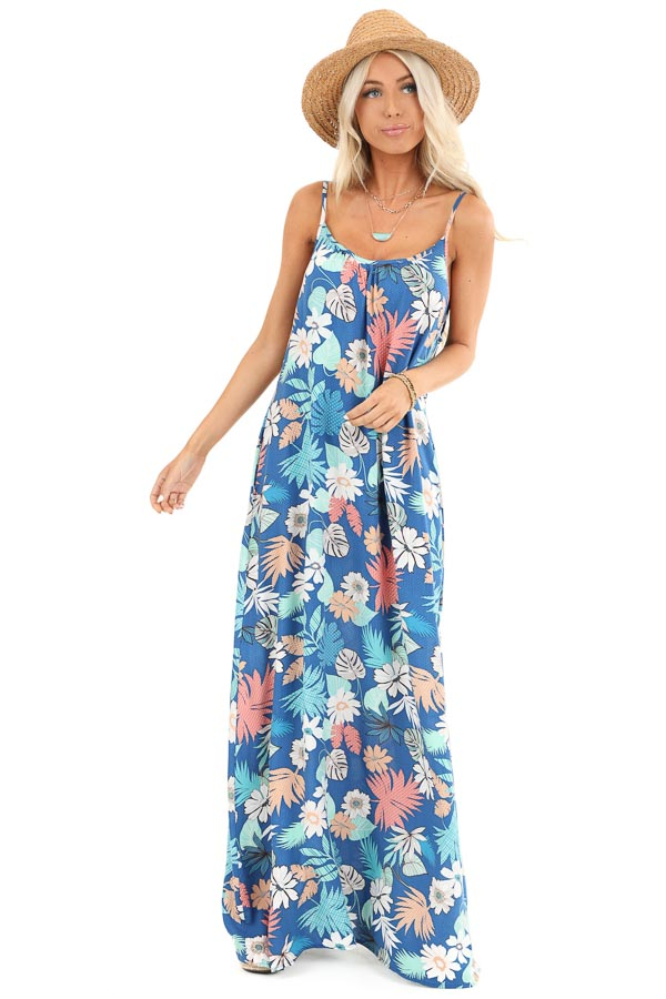 Denim Blue Multi Color Jungle Print Maxi Dress with Pockets front full body
