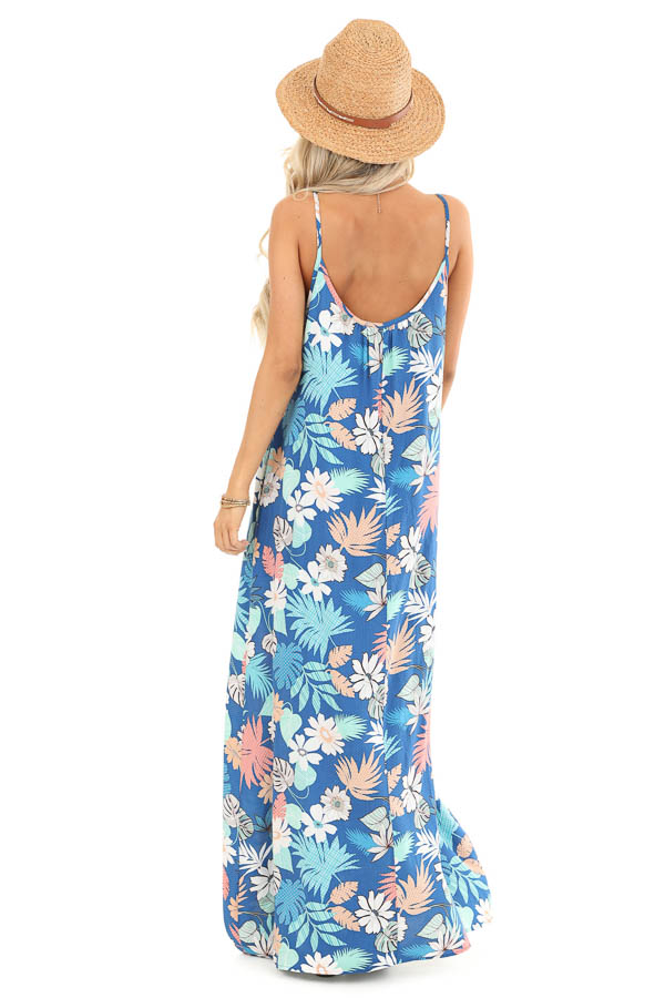 Denim Blue Multi Color Jungle Print Maxi Dress with Pockets back full body
