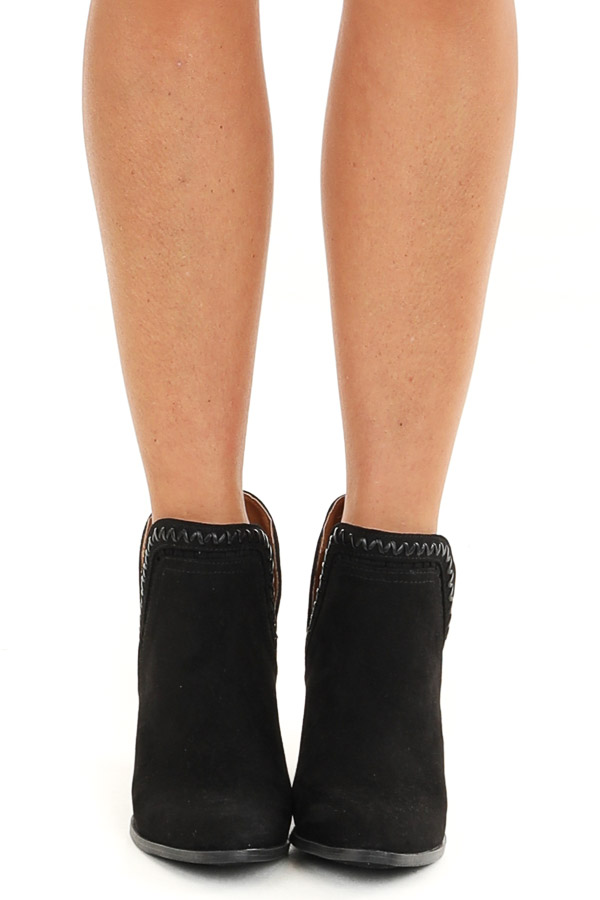 Obsidian Ankle Booties with Side Cutouts and Stacked Heel front view