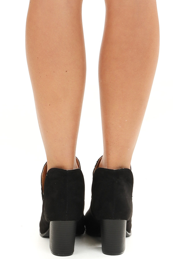 Obsidian Ankle Booties with Side Cutouts and Stacked Heel back view