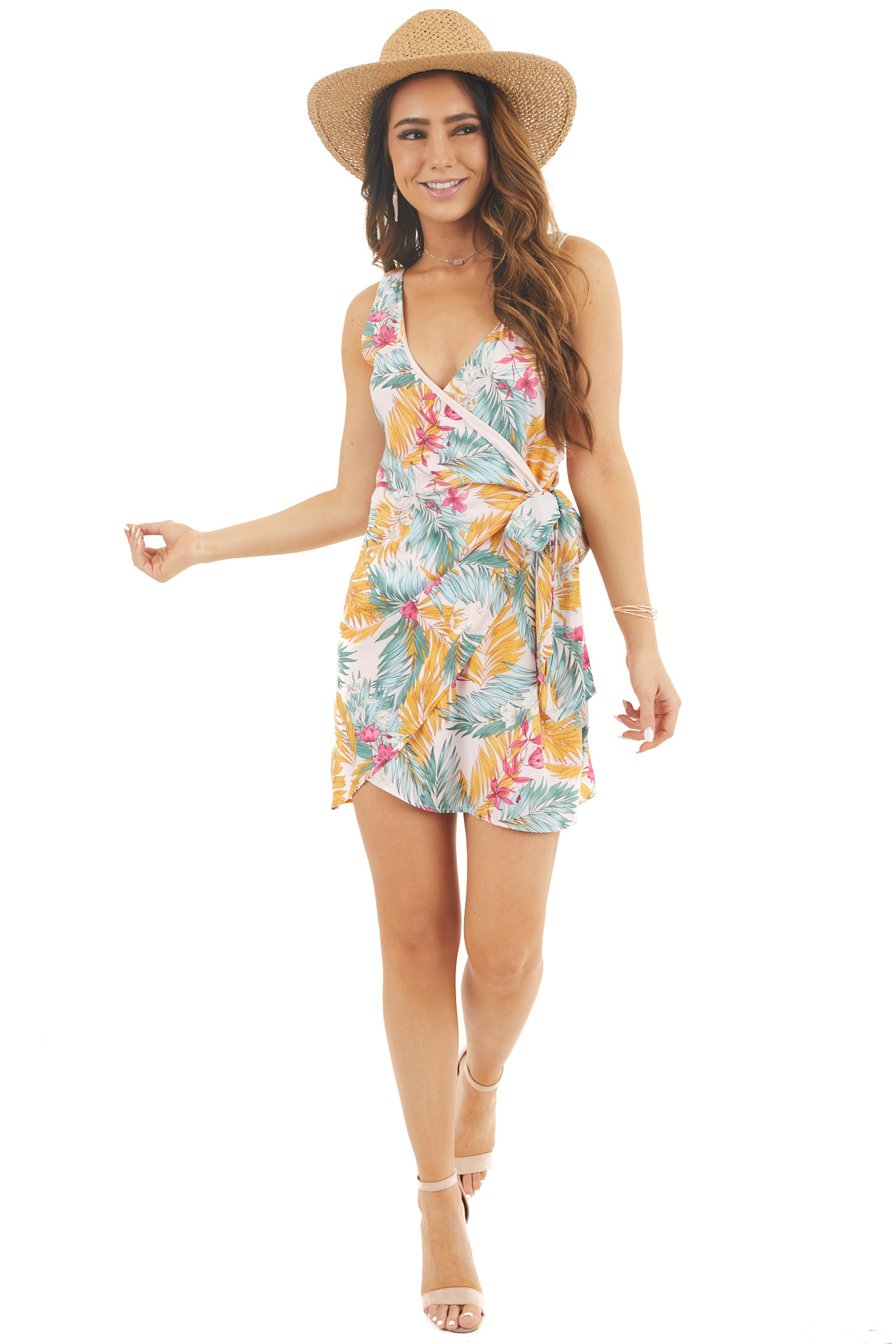 Baby Pink Tropical Print Sleeveless Wrap Dress with Tie