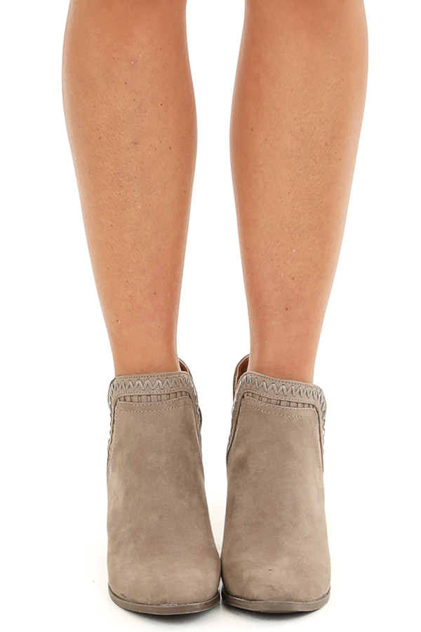 Taupe Ankle Booties with Side Cutouts and Stacked Heel front view