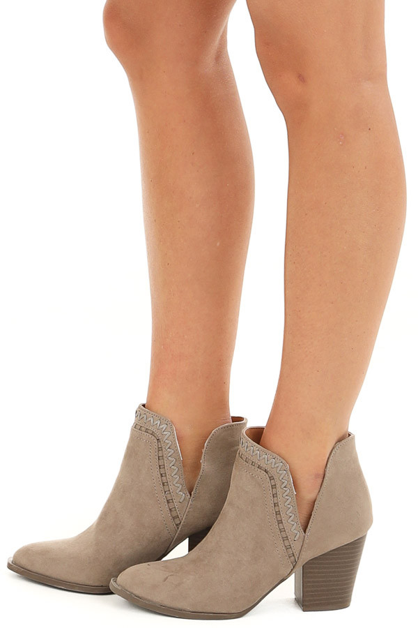 Taupe Ankle Booties with Side Cutouts and Stacked Heel side view