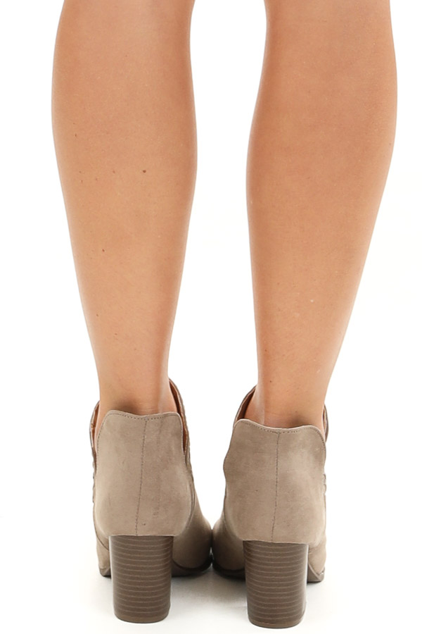 Taupe Ankle Booties with Side Cutouts and Stacked Heel back view