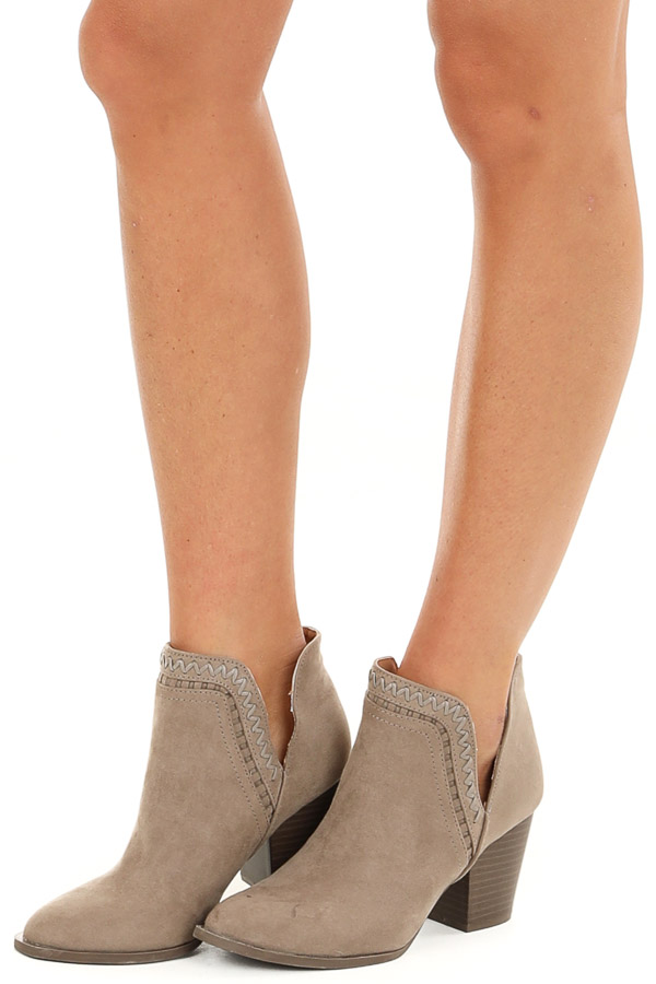 Taupe Ankle Booties with Side Cutouts and Stacked Heel front side view
