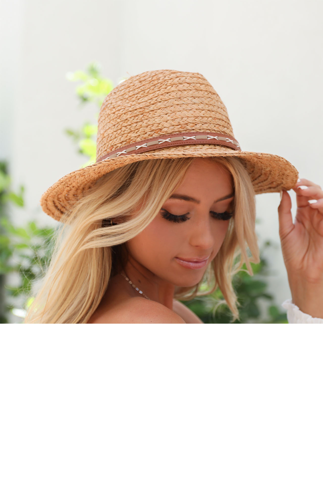 Dark Natural Straw Panama Hat with Faux Leather Band Detail front view